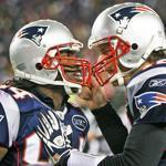 Deion Branch, left, and Tom Brady celebrated during the Patriots' playoff win over the Broncos in January.