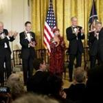 From left: Robert Plant, Jimmy Page, John Paul Jones, Natalia Makarova; David Letterman, Dustin Hoffman, President Obama, and Buddy Guy at a Kennedy Center honorees' reception.