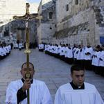 Clergy gathered Monday in Bethlehem outside the Church of the Nativity, the site revered as the birthplace of Jesus,