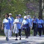 A group of Jamaica Plain Tree of Life women participatde in a community walk around Jamaica Pond April 19, 2012 as part of the Boston Moves for Health initiative.