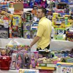 Volunteer Anthony Vessicchio of East Haven, Conn., helped organize donated toys at Town Hall in Newtown. A task force expects to take three months to sort everything.
