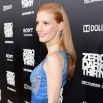 "Actress Jessica Chastain in platforms at the premiere of ""Zero Dark Thirty"" in LA."
