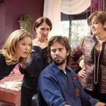 "From left, in the TV movie ""The Makeover"": Julia Stiles, Maureen Keiller, David Walton, and Camryn Manheim."