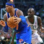 The Knicks' Carmelo Anthony blew past Kevin Garnett en route to 2 of his game-high 28 points.