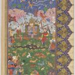 """Solomon Enthroned,"" a folio from a 16th-century manuscript of the ""Shahnama"" (""Book of Kings""), from the ""In Harmony"" exhibit of Islamic art at the Arthur M. Sackler Museum."