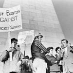 William Bulger spoke to supporters at a mid-1970s antibusing rally in Charlestown near the Bunker Hill monument