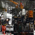Power crews worked to restore electricity on Robinwood Avenue in Buzzards Bay for residents and businesses.