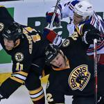 Bruins Gregory Campbell and Shawn Thornton held a board meeting with Rangers' Jeff Halpern at TD Garden.