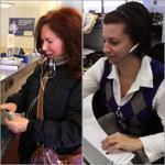 Maura McCormick visits a Salem Five branch; some customers rely on call center staffers like Jennifer Silveira.