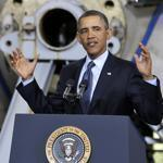 Standing in front of a ship propeller, President Obama spoke about the impending automatic defense budget cuts on Tuesday.