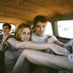"Top (from left): Sam Riley as Sal Paradise, Kristen Stewart as Marylou, and Garrett Hedlund (right) as Dean Moriarty in ""On the Road."""