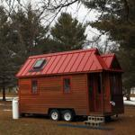 Nara Williams worked in the window seat of her tiny house on the campus of Hampshire College.
