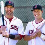 Red Sox Mike Napoli (left) and Daniel Nava each homered in his first major league at-bat, Nava belting a grand slam on the first pitch.