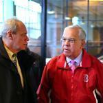 Boston Mayor Thomas M. Menino (right) was escorted by Red Sox President Larry Lucchino in the annual pre-Opening Day tour of Fenway Park.