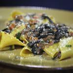 Pappardelle in a sauce of wild boar, juniper berries, and trumpet mushrooms.