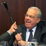 At his annual budget breakfast in the Eagle Room at City Hall, Mayor Thomas M. Menino had some fun with City Councilor Charles C. Yancey.