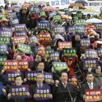 South Koreans protested North Korea's recent actions, including the threat of nuclear war, on Thursday in Seoul.