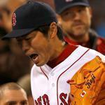 Koji Uehara reacted after giving up the go-ahead run to the Orioles and being pulled.