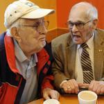 William Poulios, 90, and Walter Hedlund. 92, both from Chelmsford, have much in common but met only recently.