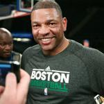 Doc Rivers enjoys a light moment with the media before his team's practice Monday.