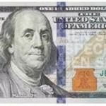 The newly designed $100 bill is multi-colored.