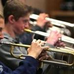 Jazz ensemble trumpeters Morgan Milender (left) and Brenden Johnson rehearsed at Foxborough High.
