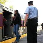 Commuters boarded the Fairmount line train at the Talbot Avenue stop that opened last year.