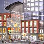 A rendering depicts the exterior view of the complex and towers that Delaware North Cos. and Boston Properties propose to build in front of TD Garden.