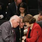 Senate Judiciary Committee chairman Patrick Leahy (left) and Senators Richard Durbin and Dianne Feinstein discussed negotiations during a meeting on immigration.