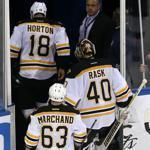 Tuukka Rask and the Bruins slumped off the ice after the Rangers scored the game-winning goal.