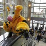 Melikka Budnick dressed as Girafarig, a character from Pokemon.