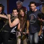 From the left to the right, Jordan Knight, Steven Tyler, and comedian Dane Cook at the finale of the Boston Strong benefit concert.