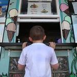 Four-year-old Ryan Kelly waited for a soft-serve ice cream at Dairy Freeze in Quincy.