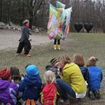 Artist Claire Ashley (back left) addresses Lincoln Nursery School students at the deCordova Sculpture Park and Museum in April.