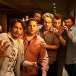 "From left, James Franco, Jonah Hill, Craig Robinson, Seth Rogen, Jay Baruchel, and Danny McBride in ""This Is the End."""
