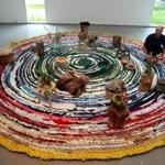 "Fritz Haeg on his rug made of recycled apparel in ""Domestic Integrities."""