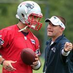Offensive coordinator Josh McDaniels (right) has already taken a hand in the re-education of Tim Tebow as an NFL quarterback.
