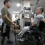 J.P. Norden met Marine Sergeant Luis Remache at the Walter Reed National Military Medical Center in Washington.