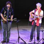 Joan Baez (center) was joined by the Indigo Girls for a closing set on Sunday.