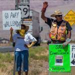 Navajos protested along a highway near Cameron, Ariz., Sunday in advance of Nik Wallenda's planned wire walk.