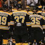 Patrice Bergeron and his dejected teammates leave the TD Garden ice to applause from an appreciative crowd.