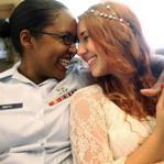 Air Force Senior Airman Shyla Smith and Courtney Burdeshaw waited to get married on Thursday in New York City. New York State is one of 12 that allow gay marriage.