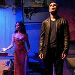 "From left: Guiesseppe Jones, Natalie Mendoza, and James Barry star in the Chester Theatre Company production of Steven Sater's ""Arms on Fire."""