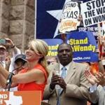 Senators Wendy Davis, Royce West, and Carlos Uresti led a rally in Austin prior to a special session of the state Legislature.