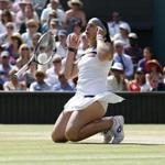 Marion Bartoli of France celebrated her victory over Sabine Lisicki of Germany in the women's final for the Wimbledon Championships.