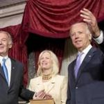 Vice President Joe Biden read the oath of office to Senator Ed Markey during a ceremonial swearing-in at the Capitol on Tuesday.