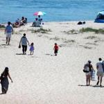 Beachgoers in Chatham on Wednesday.