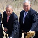 Boston Mayor Thomas M. Menino, far right, at a groundbreaking in Dorchester in 2011. Also pictured are University of Massachusetts President Jack Wilson, Victoria Reggie Kennedy, Paul G. Kirk, and Massachusetts Governor Deval Patrick.