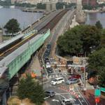 The first day of a new pattern of commuter traffic on the Longfellow Bridge. The bridge will be undergoing repairs for about three years.