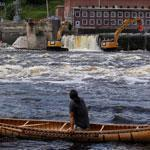 Joseph Dana watched from a traditional handmade birch canoe on the Penobscot as the Veazie Dam was breached.